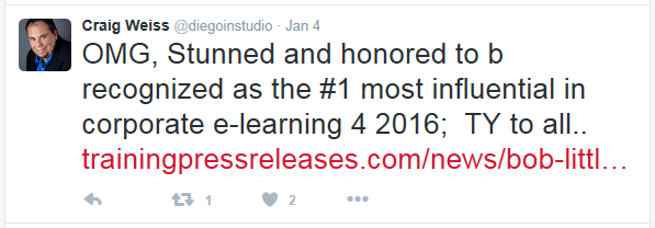 A tweet from Craig Weiss thanking everyone for naming him number one most influential in corporate elearning